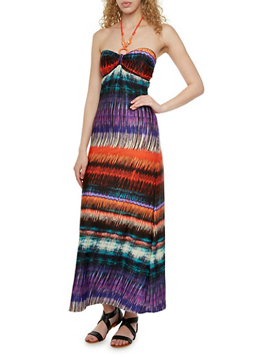 Beaded Halter Neck Maxi Dress with Ornate Print,RUST MULTI,large