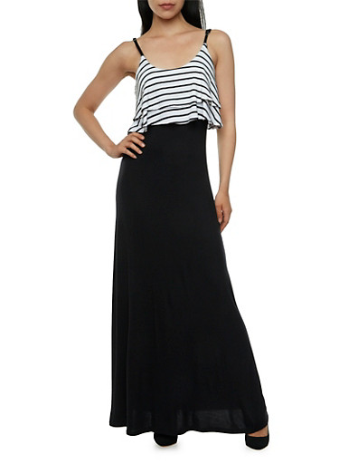 Maxi Dress with Striped Flounce Bodice,BLACK/WHITE,large