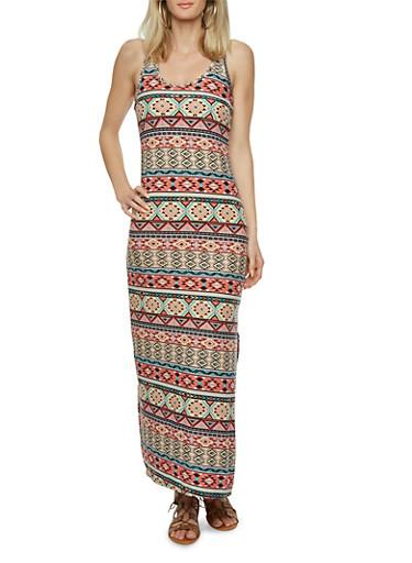 Brushed Knit Tribal Print Maxi Dress,MULTI COLOR,large
