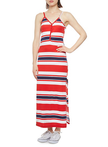 Striped Maxi Dress with Side Slit,BLUE,large