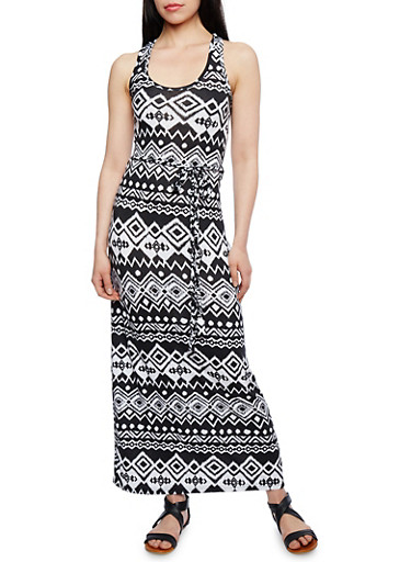Aztec Print Racerback Maxi Dress with Matching Braided Belt,BLACK/WHITE,large