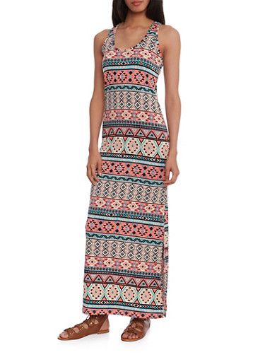 Racerback Maxi Dress with Aztec Print and Slit,MULTI COLOR,large