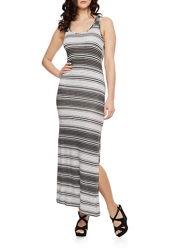 Striped Maxi Dress with Scoop Neck,BLACK/WHITE,large