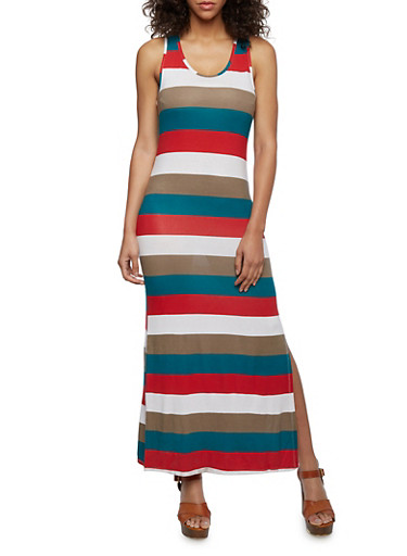 Striped Maxi Dress with Side Slit,GREEN,large