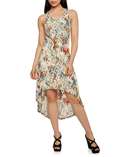 Sleeveless High-Low Dress in Aztec Print,MULTI COLOR,large