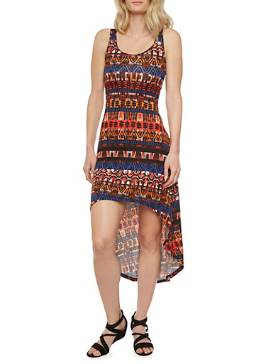 High-Low Dress with Tribal Print Throughout and Crochet Back Panel,MULTI COLOR,large