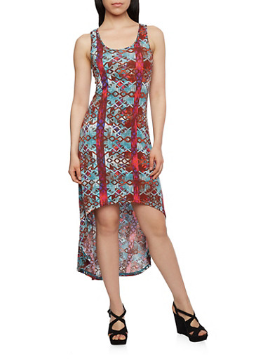 Geometric Print High-Low Dress with Crochet Back Panel,MULTI COLOR,large