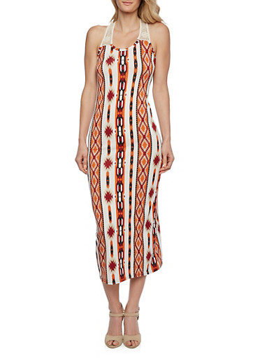 Southwestern Print Maxi Dress with Crochet Halter Neck,MULTI COLOR,large