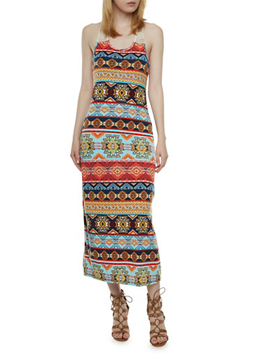 Printed Maxi Dress with Crochet Trim,MULTI COLOR,large
