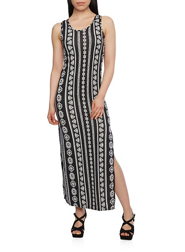 Printed Maxi Dress with Crochet Back Panel,BLACK/WHITE,large