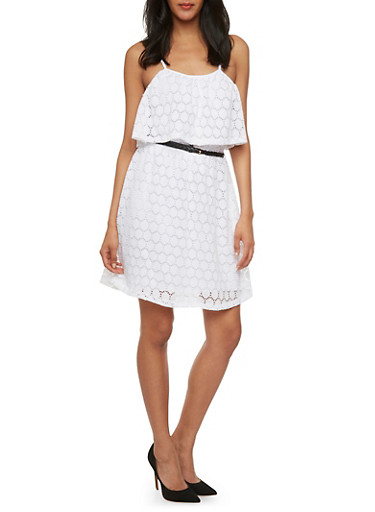 Embroidered Dress with Layered Bodice,WHITE,large