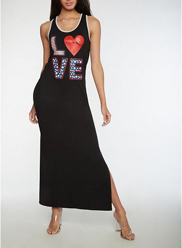 Love Graphic Racerback Tank Dress,BLACK,large
