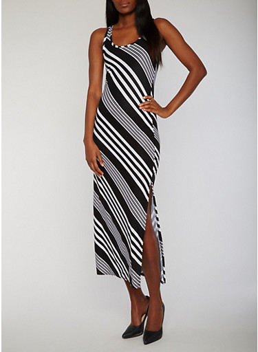 Sleeveless Striped Raceback Maxi Dress with Side Slit,BLACK/WHITE,large