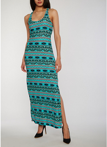 Aztec Print Racerback Maxi Dress,JADE,large