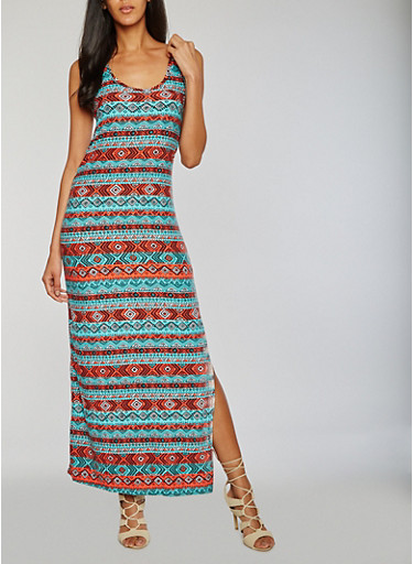 Aztec Print Side Slit Maxi Dress,JADE,large