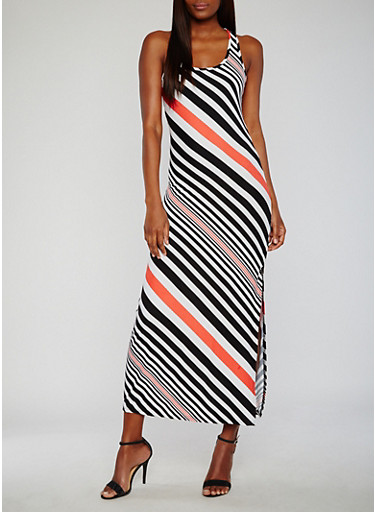 Striped Maxi Tank Dress,BLK/CORAL,large