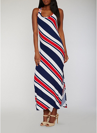 Sleeveless Striped Maxi Tank Dress with Side Slit,NAVY/RED,large