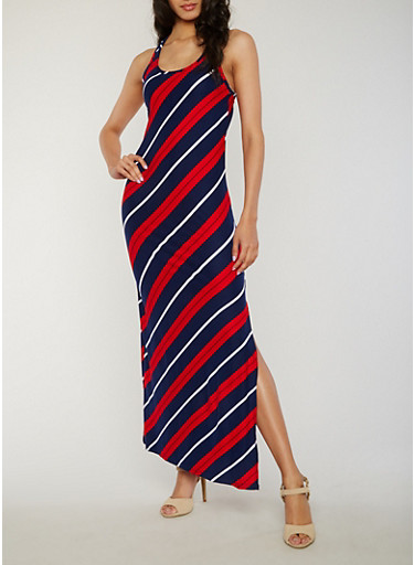 Striped Racerback Maxi Dress with Side Slit,NAVY,large