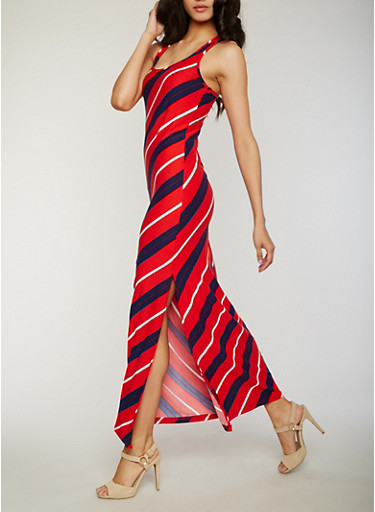 Striped Racerback Maxi Dress with Side Slit,RED,large