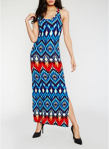 Printed Racerback Maxi Dress with Side Slit,BLUE/RUST,large