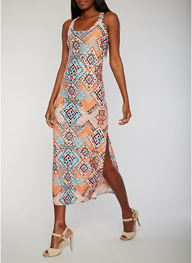 Printed Scoop Neck Racerback Tank Dress,PEACH/BLUE,large