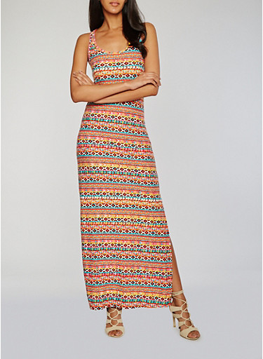 Printed Scoop Neck Maxi Tank Dress with Side Slit,ORANGE,large