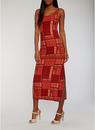 Printed Scoop Neck Racerback Maxi Dress,RUST,large