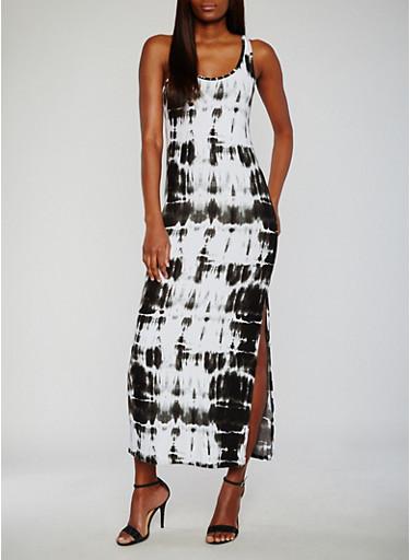 Tie Dye Scoop Neck Maxi Tank Dress,BLACK,large