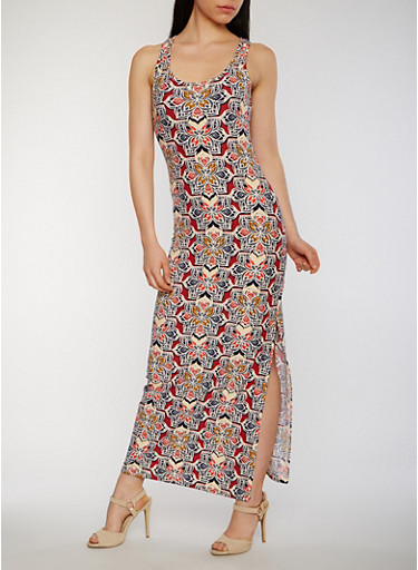 Printed Maxi Tank Dress with Side Slits,RUST,large