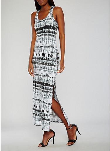 Tie Dye Maxi Tank Dress,BLACK,large