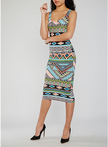 Sleeveless Aztec Print Midi Tank Dress,BLUSH/BLK,large