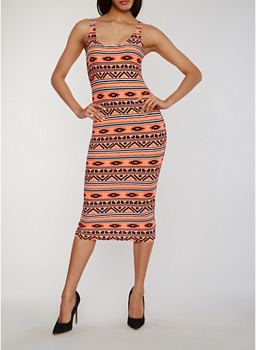 Aztec Print Mid Length Bodycon Dress,CORAL/BLK,large