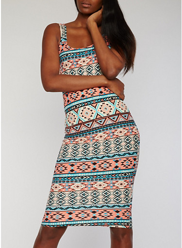 Sleeveless Printed Mid Length Bodycon Tank Dress,CORAL/MINT,large
