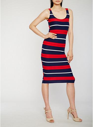 Striped Midi Tank Dress,NAVY,large