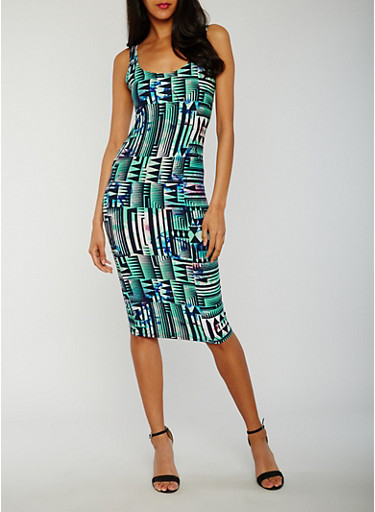 Printed Sleeveless Multicolor Bodycon Dress,BLACK/GREEN,large