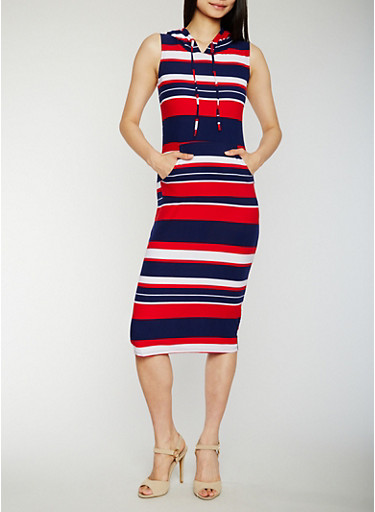 Sleeveless Striped Dress with Hood,NAVY,large