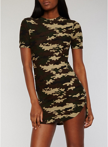 Short Sleeve Camouflage T Shirt Dress,OLIVE,large