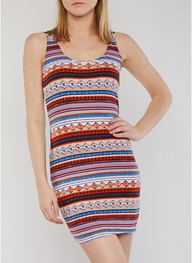 Sleeveless Soft Knit Printed Bodycon Dress,RUST/BLUE,large