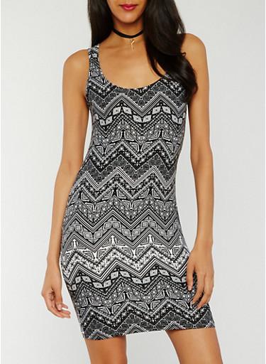 Sleeveless Printed Tank Dress,BLACK/WHITE,large