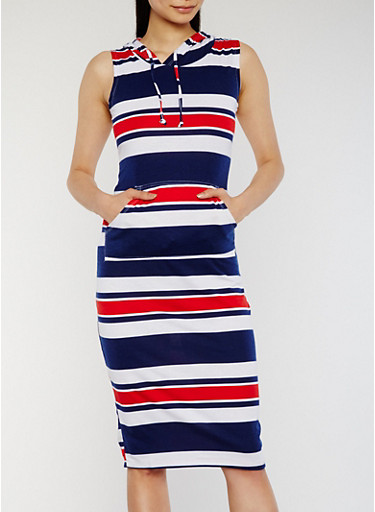 Hooded Stripe Midi Dress with Pouch Pocket,NAVY,large
