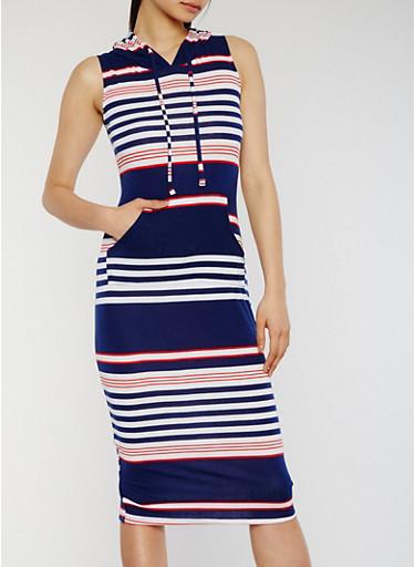 Hooded Striped Midi Dress with Kangaroo Pocket,NAVY,large