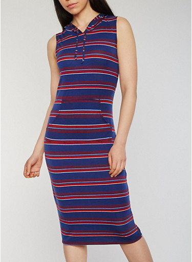 Striped Sleeveless Mid Length Hooded Dress with Pouch Pocket,NAVY,large