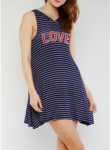 Striped Love Graphic Hooded Shift Dress,NAVY,large