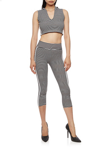 Striped Hooded Crop Top with Matching Capri Leggings Set,BLACK/WHITE,large