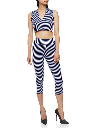 Striped Hooded Crop Top with Matching Capri Leggings Set,NAVY/WHITE,large