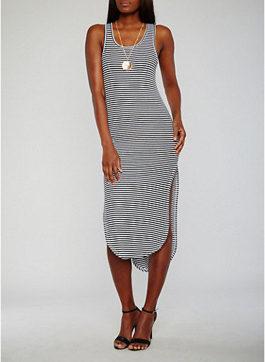 Striped High Low Tank Dress with Necklace,BLACK/WHITE,large