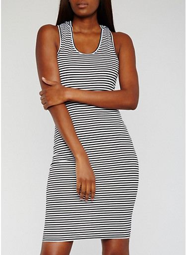 Sleeveless Striped Tank Dress with Hood,BLACK/WHITE,large