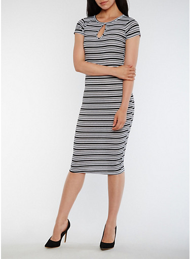 Striped Rib Knit Midi Dress with Keyhole,BLACK/WHITE,large