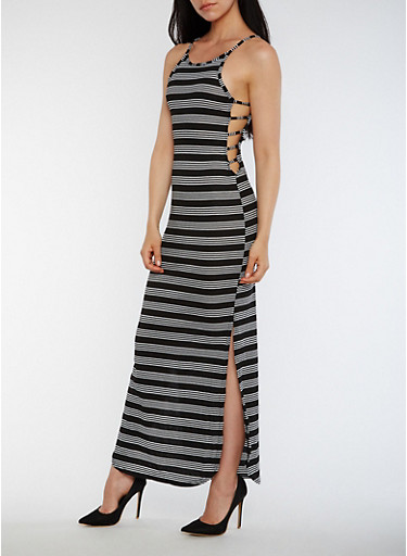 Striped Rib Knit Maxi Dress with Caged Sides,BLACK/WHITE,large