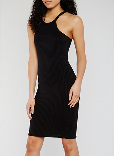 Rib Knit Halter Bodycon Dress,BLACK,large